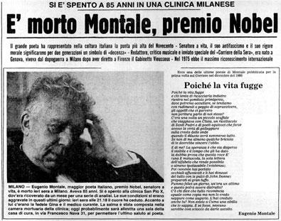 La notizia della morte ( cortesia: Corriere della Sera 13/09/1981)